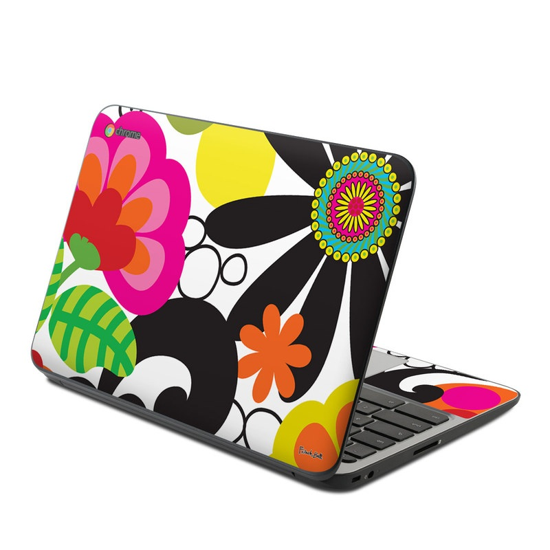 HP Chromebook 11 G4 Skin design of Pattern, Clip art, Design, Visual arts, Floral design, Graphic design, Graphics, Motif with black, white, green, purple, red, gray colors
