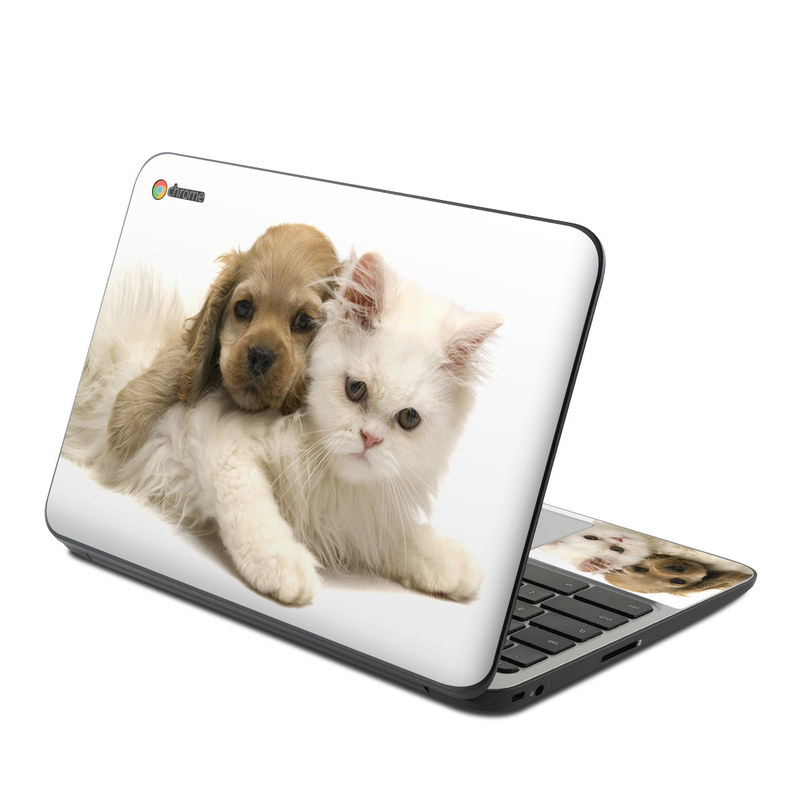 HP Chromebook 11 G4 Skin design of Mammal, Vertebrate, Cat, Canidae, Puppy, Carnivore, Dog, Dog breed, Felidae, Kitten with gray, white, green, black, pink, yellow colors