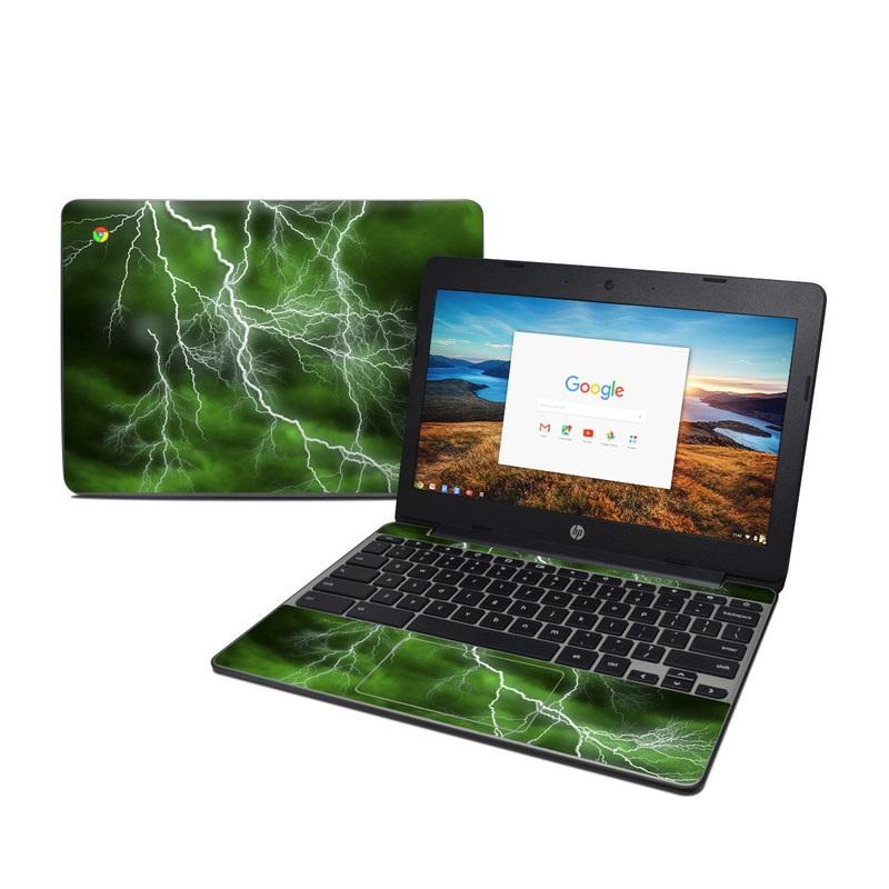 HP Chromebook 11 G5 Skin design of Thunderstorm, Thunder, Lightning, Nature, Green, Water, Sky, Atmosphere, Atmospheric phenomenon, Daytime with green, black, white colors