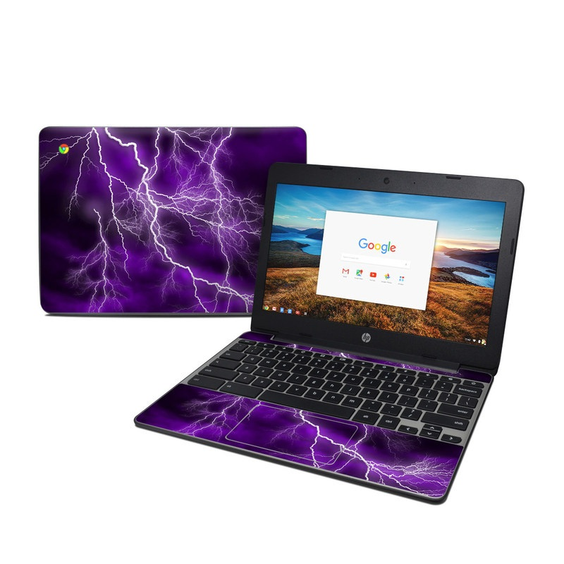 HP Chromebook 11 G5 Skin design of Thunder, Lightning, Thunderstorm, Sky, Nature, Purple, Violet, Atmosphere, Storm, Electric blue with purple, black, white colors