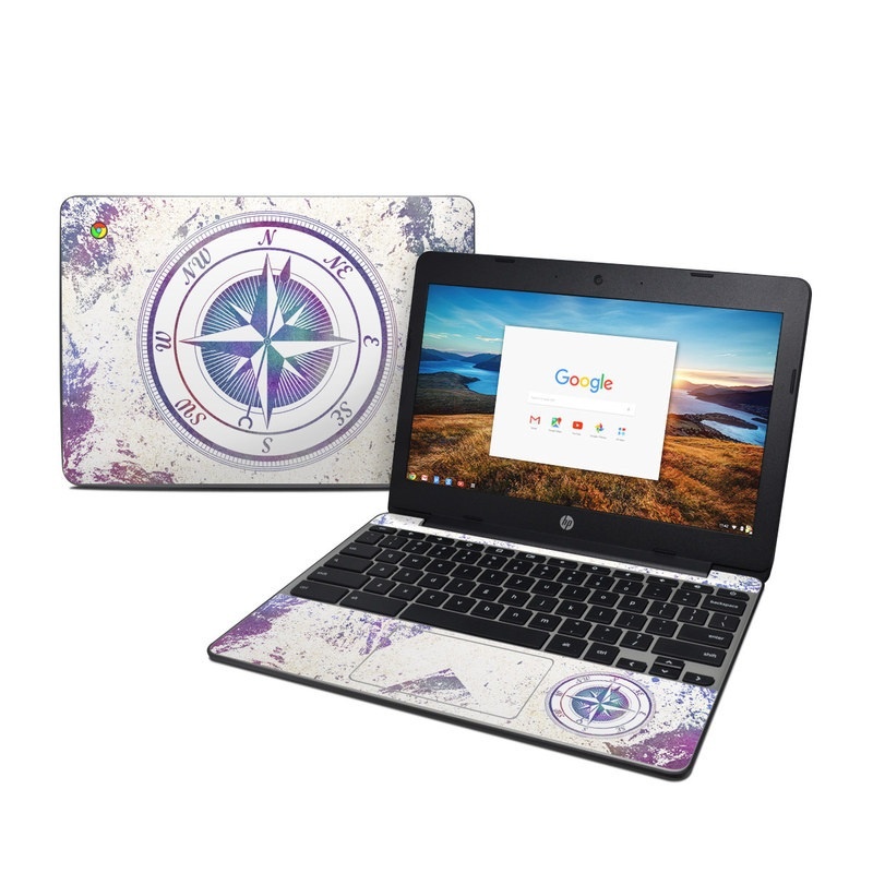 HP Chromebook 11 G5 Skin design of Clock, Circle, Compass, Graphics, Pattern, Illustration, Interior design with gray, white, yellow, pink, purple, blue colors