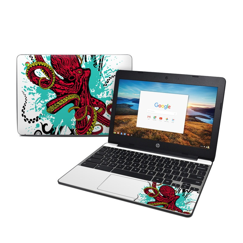 HP Chromebook 11 G5 Skin design of Graphic design, Illustration, Visual arts, Octopus, Design, Art, Fictional character, Pattern, Clip art, Line art with black, white, gray, red, blue, green colors