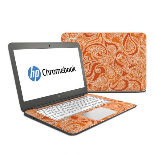 Paisley In Orange HP Chromebook 14 Skin