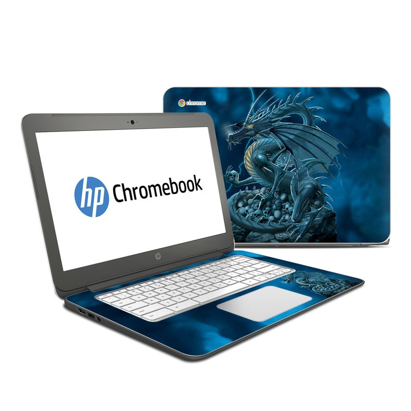 HP Chromebook 14 Skin design of Cg artwork, Dragon, Mythology, Fictional character, Illustration, Mythical creature, Art, Demon with blue, yellow colors