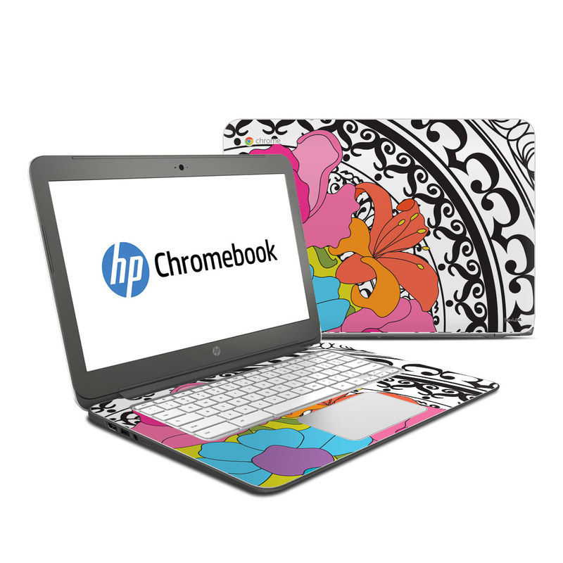 HP Chromebook 14 Skin design of Clip art, Floral design, Illustration, Design, Visual arts, Graphics, Plant, Art, Petal, Flower with black, white, purple, blue, pink, orange, green colors