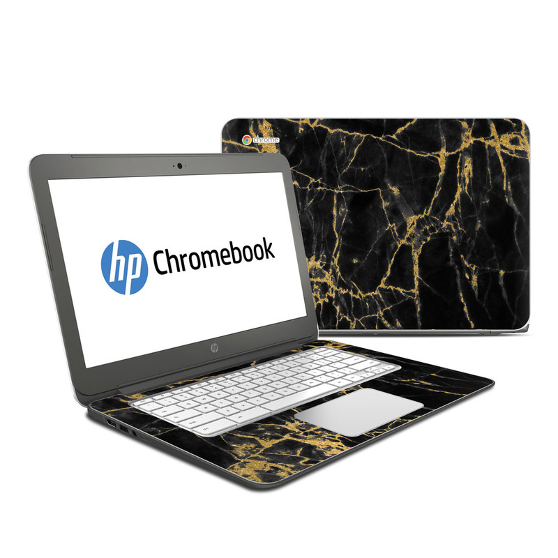 HP Chromebook 14 Skin design of Black, Yellow, Water, Brown, Branch, Leaf, Rock, Tree, Marble, Sky with black, yellow colors