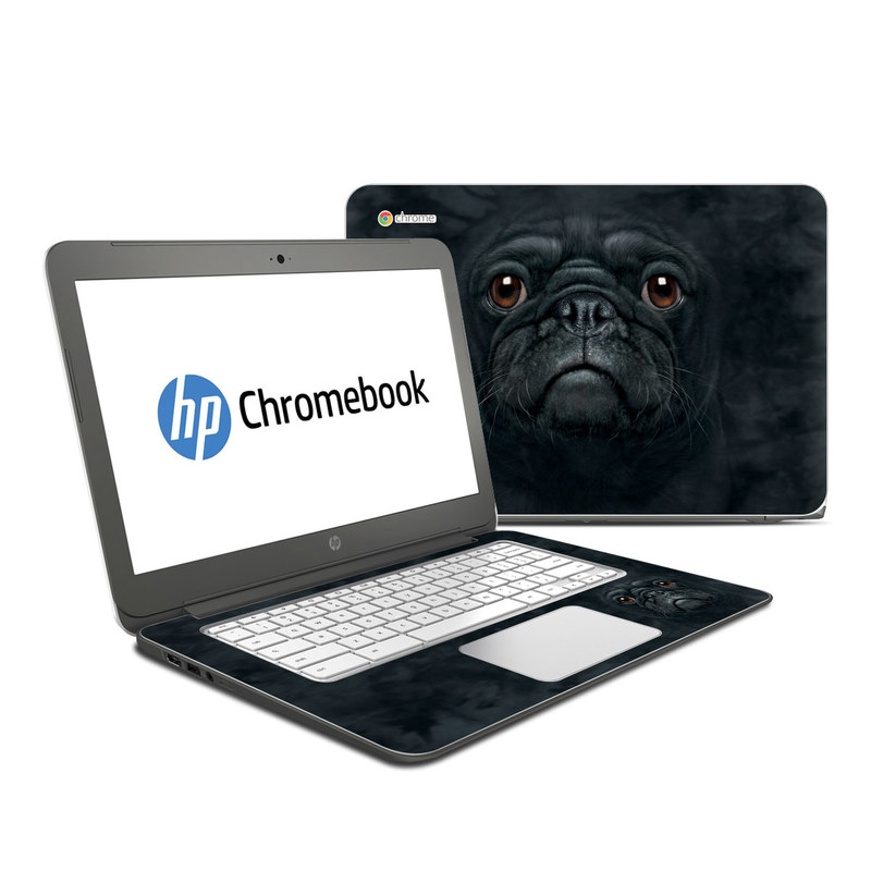 HP Chromebook 14 Skin design of Pug, Snout, Canidae, Dog, Skin, Eye, Organ, Companion dog, Wrinkle, Dog breed with black, brown colors