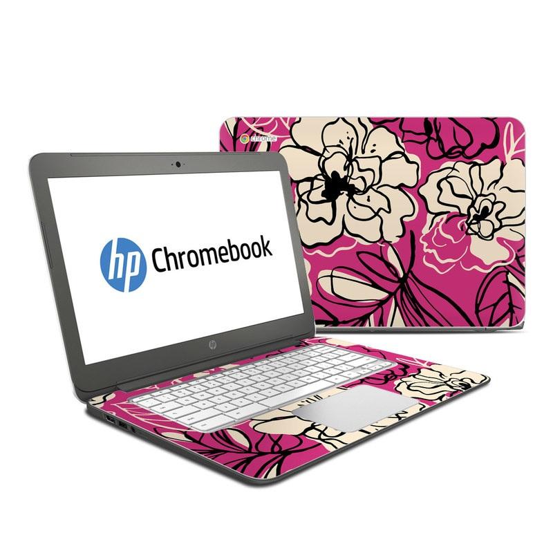 HP Chromebook 14 Skin design of Pink, Pattern, Petal, Flower, Floral design, Plant, Botany, Design, Magenta, Visual arts with pink, yellow colors