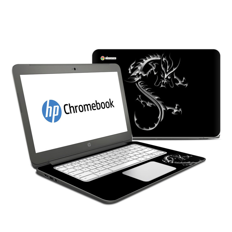 HP Chromebook 14 Skin design of Font, Logo, Graphic design, Black-and-white, Fictional character, Darkness, Dragon, Graphics, Illustration, Symbol with black, white colors