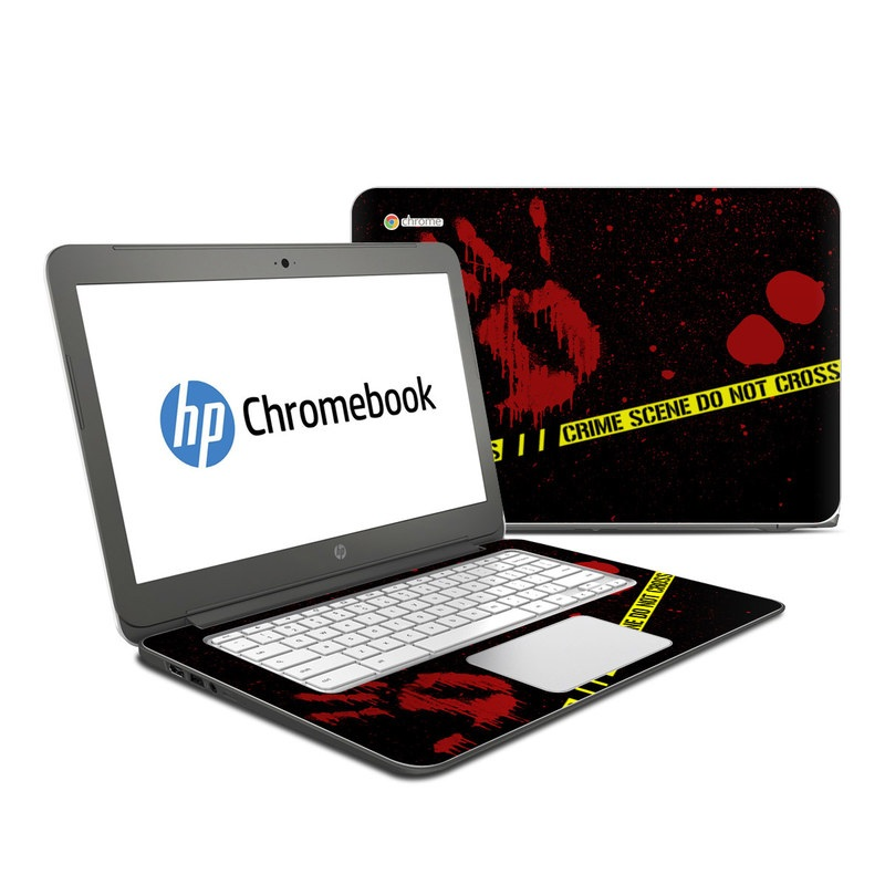 HP Chromebook 14 Skin design of Red, Black, Font, Text, Logo, Graphics, Graphic design, Room, Carmine, Fictional character with black, red, green colors