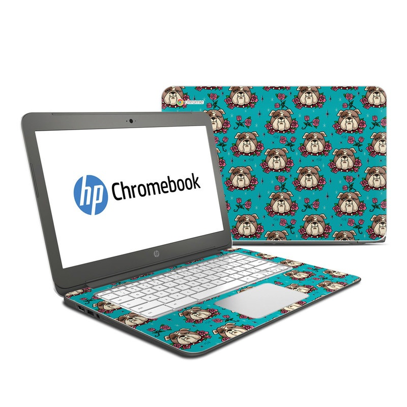 HP Chromebook 14 Skin design of Turquoise, Pattern, Design, Textile, Wrapping paper, Fawn, Gift wrapping, Illustration, Art with blue, red, pink, white, brown colors