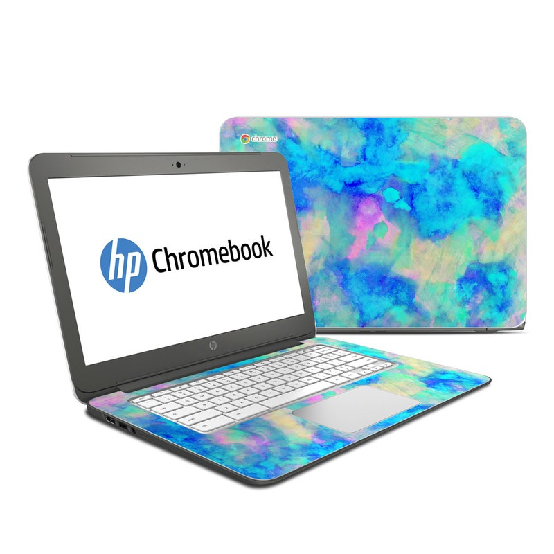 HP Chromebook 14 Skin design of Blue, Turquoise, Aqua, Pattern, Dye, Design, Sky, Electric blue, Art, Watercolor paint with blue, purple colors