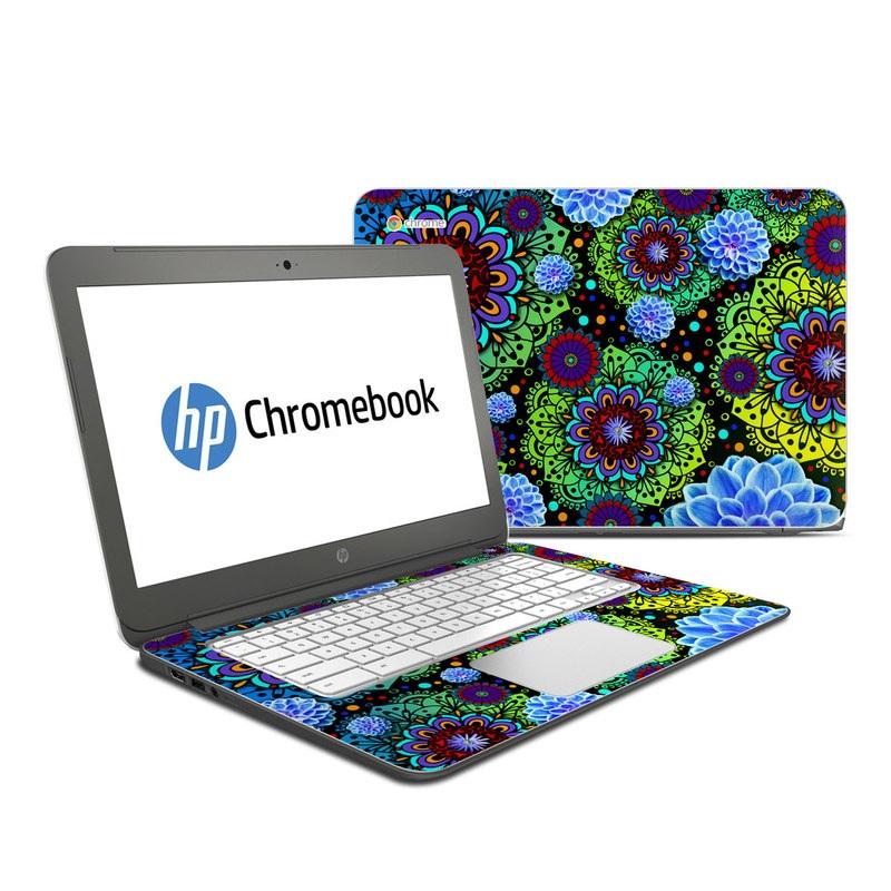 HP Chromebook 14 Skin design of Pattern, Psychedelic art, Design, Flower, Art, Visual arts, Floral design, Plant, Textile, Symmetry with black, blue, green, purple colors