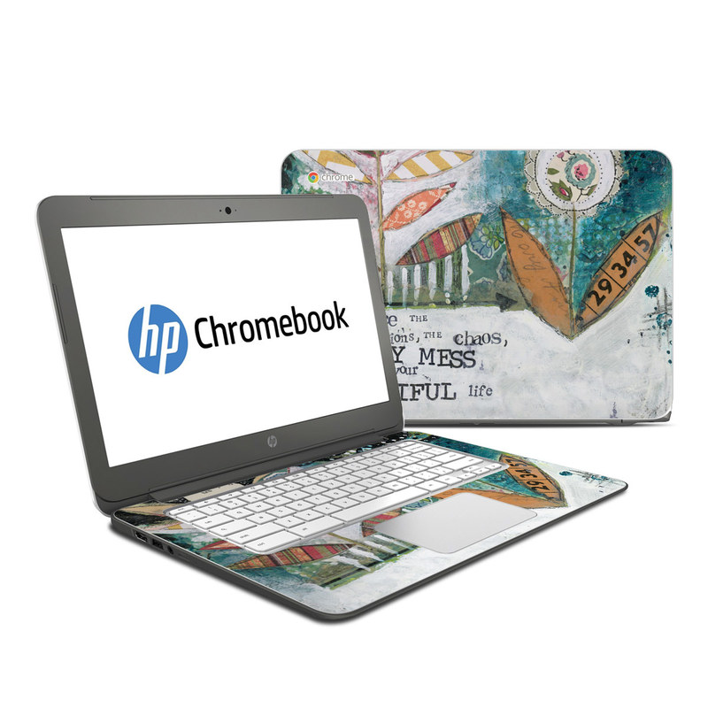 HP Chromebook 14 Skin design of Leaf, Font, Plant, Illustration, Art with blue, white, green, red, orange, yellow colors
