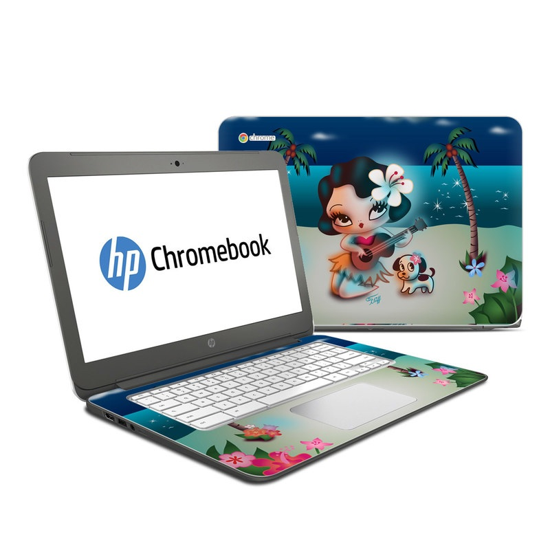 HP Chromebook 14 Skin design of Cartoon, Animated cartoon, Illustration, Animation, Fictional character, Plant, Art, Clip art with blue, white, brown, pink, green, yellow, red colors