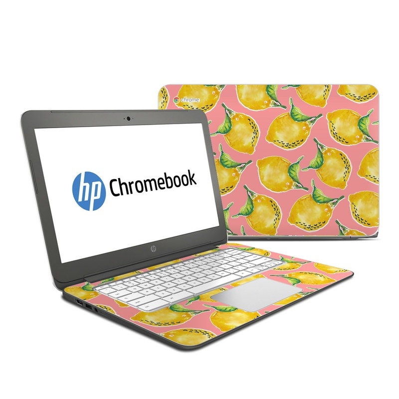HP Chromebook 14 Skin design of Yellow, Plant with yellow, green, pink colors