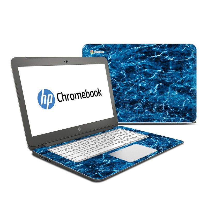 HP Chromebook 14 Skin design of Blue, Water, Aqua, Turquoise, Azure, Electric blue, Sky, Pattern, Sea, Ocean with blue, black colors