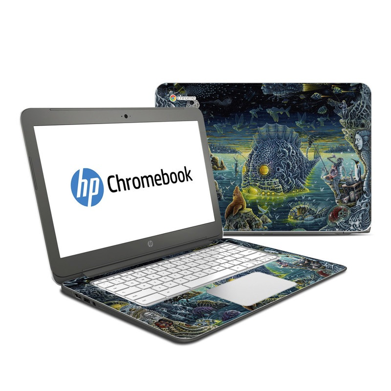 HP Chromebook 14 Skin design of Organism, Water, Illustration, Art, Painting, Cg artwork, Fiction, Fictional character, Marine biology, Mythology with black, gray, blue, green colors