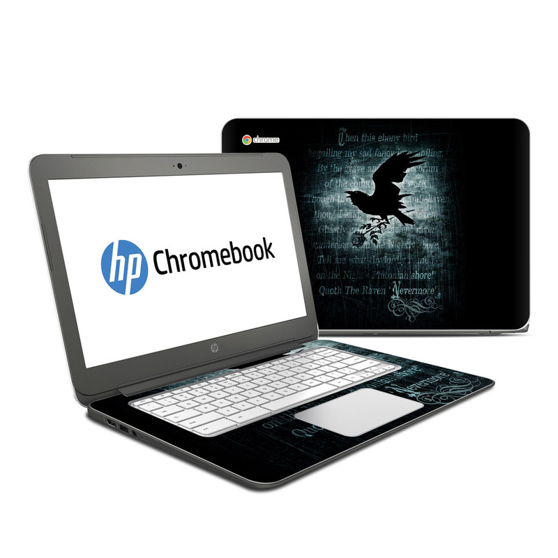 HP Chromebook 14 Skin design of Bird, Text, Wing, Graphic design, Darkness, Font, Illustration, Graphics with black, white, blue colors