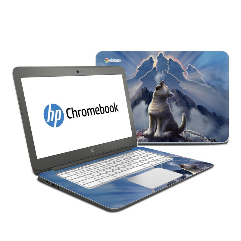 HP Chromebook 14 Skin design of Sky, Cloud, Atmosphere, Rock, Wolf, Photography, Cg artwork, Illustration, Mountain, Mythology with white, blue, gray, brown colors