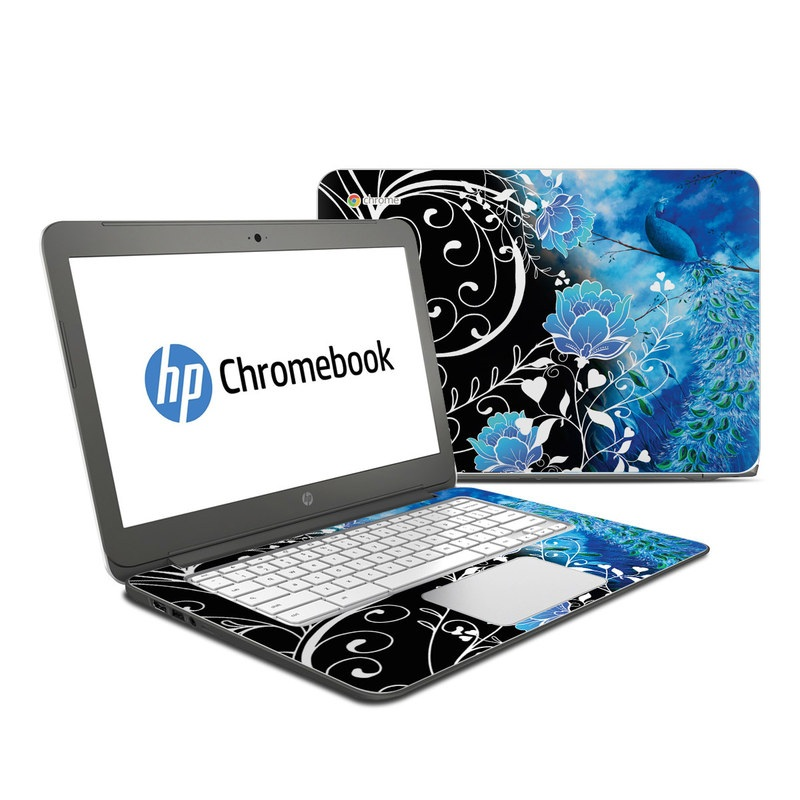 HP Chromebook 14 Skin design of Blue, Pattern, Graphic design, Design, Illustration, Organism, Visual arts, Graphics, Plant, Art with black, blue, gray, white colors