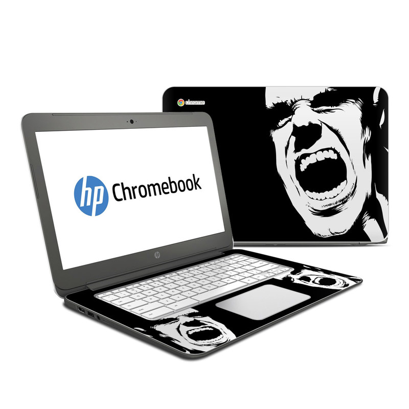 HP Chromebook 14 Skin design of Face, Facial expression, Black-and-white, Shout, Mouth, Illustration, Font, Jaw, Monochrome, Smile with black, white, gray colors