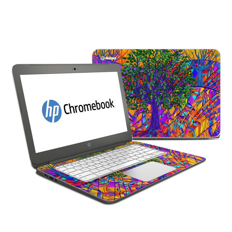HP Chromebook 14 Skin design of Psychedelic art, Pattern, Visual arts, Art, Plant, Acrylic paint, Modern art with green, purple, orange, blue, purple, yellow, red colors