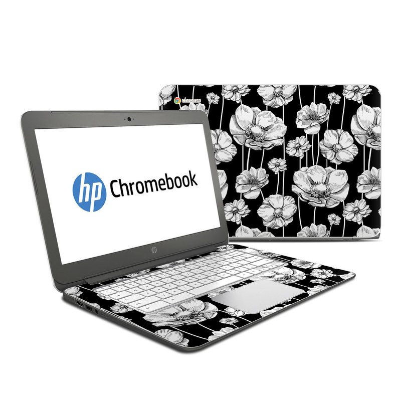 HP Chromebook 14 Skin design of Flower, Black-and-white, Plant, Botany, Petal, Design, Wildflower, Monochrome photography, Pattern, Monochrome with black, gray, white colors