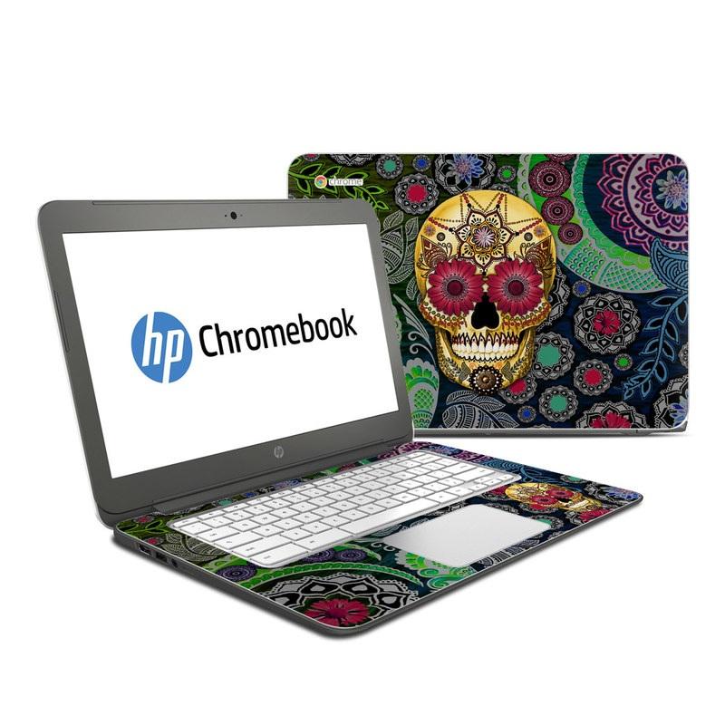 HP Chromebook 14 Skin design of Skull, Bone, Pattern, Psychedelic art, Visual arts, Design, Illustration, Art, Textile, Plant with black, red, gray, green, blue colors