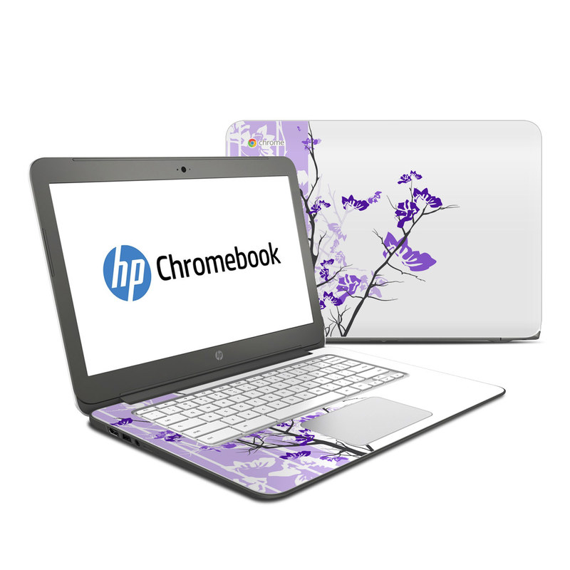 HP Chromebook 14 Skin design of Branch, Purple, Violet, Lilac, Lavender, Plant, Twig, Flower, Tree, Wildflower with white, purple, gray, pink, black colors