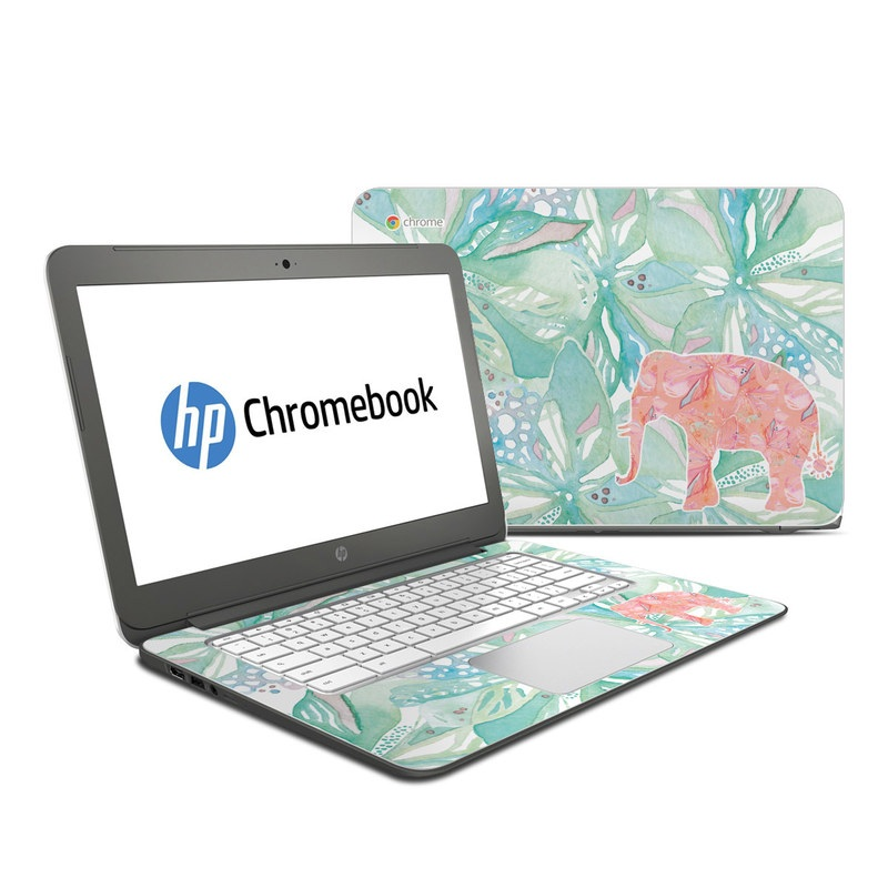 HP Chromebook 14 Skin design of Aqua, Turquoise, Pattern, Wrapping paper, Design, Illustration, Plant, Gift wrapping, Art with blue, pink, white, green colors