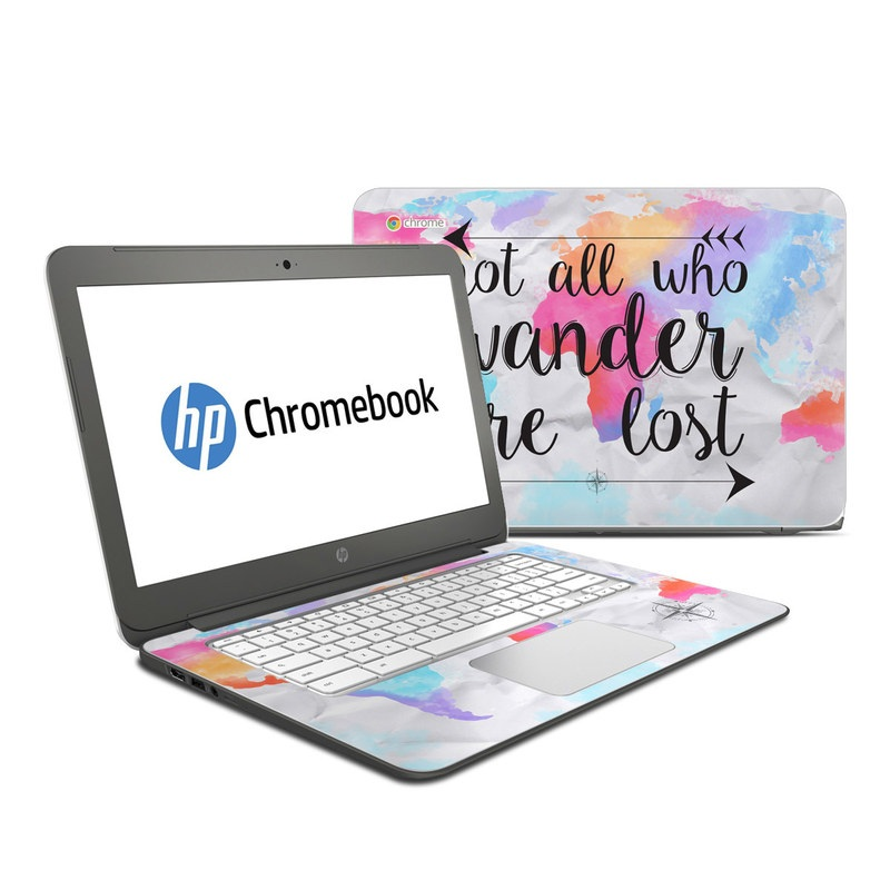 HP Chromebook 14 Skin design of Font, Text, Calligraphy, Graphics with black, white, orange, pink, red, blue, purple, yellow colors