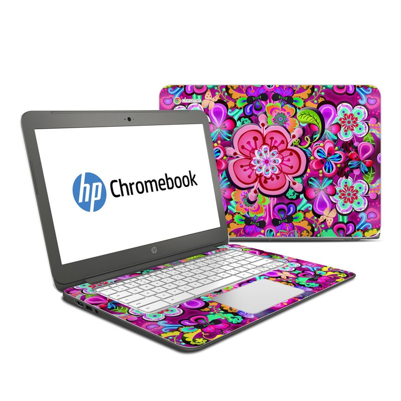 HP Chromebook 14 Skin design of Pattern, Pink, Design, Textile, Magenta, Art, Visual arts, Paisley with purple, black, red, gray, blue colors