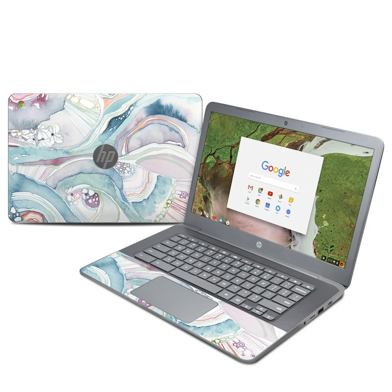 HP Chromebook 14 G5 Skin design of Watercolor paint, Plant, Art, Illustration, Flower with blue, purple, pink, red, orange colors