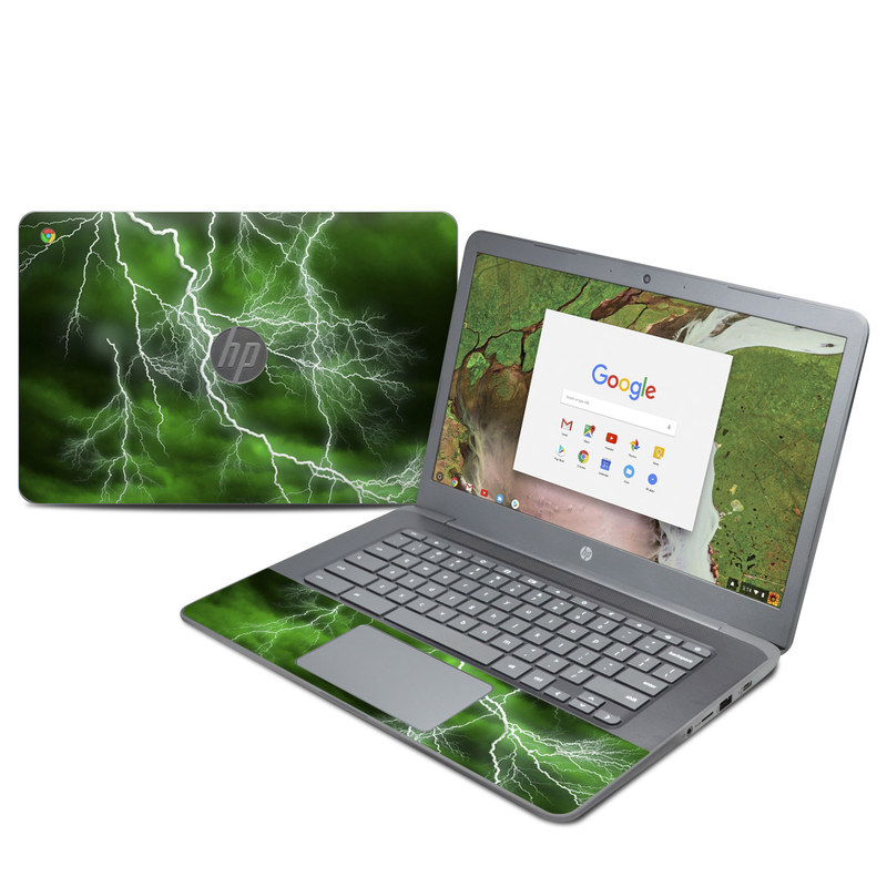 HP Chromebook 14 G5 Skin design of Thunderstorm, Thunder, Lightning, Nature, Green, Water, Sky, Atmosphere, Atmospheric phenomenon, Daytime with green, black, white colors