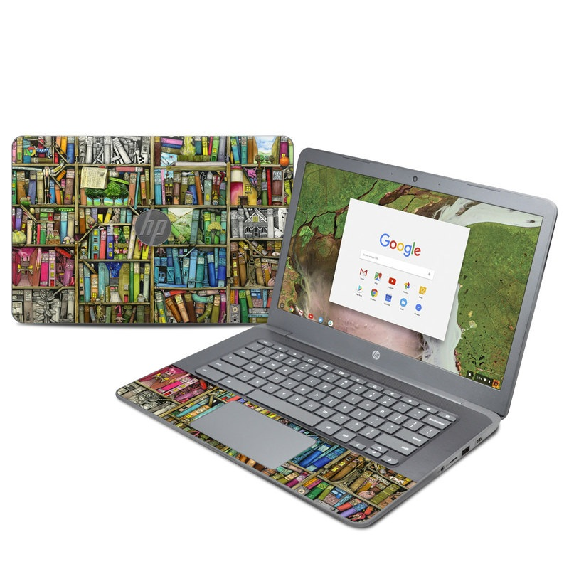 HP Chromebook 14 G5 Skin design of Collection, Art, Visual arts, Bookselling, Shelving, Painting, Building, Shelf, Publication, Modern art with brown, green, blue, red, pink colors
