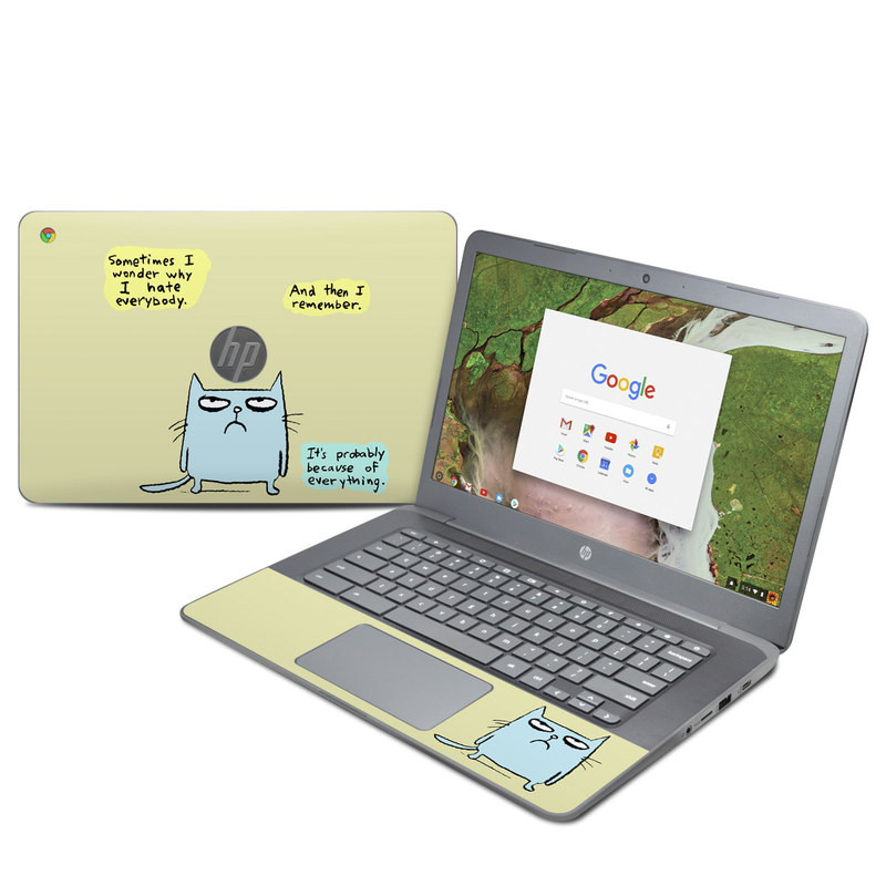 HP Chromebook 14 G5 Skin design of Cartoon, Facial expression, Text, Cat, Whiskers, Photo caption, Snout, Line, Font, Organism with blue, green, yellow colors