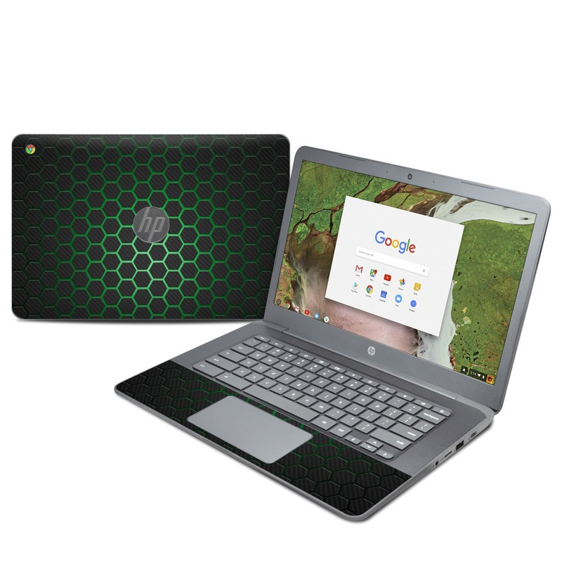 HP Chromebook 14 G5 Skin design of Pattern, Metal, Design, Carbon, Space, Circle with black, gray, green colors