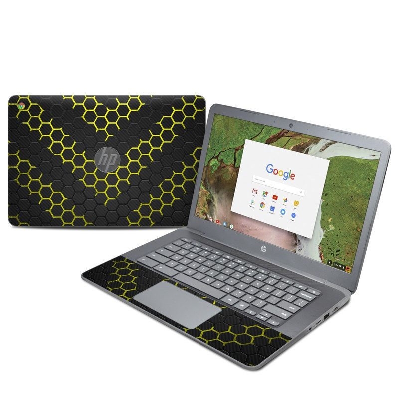 HP Chromebook 14 G5 Skin design of Black, Pattern, Yellow, Mesh, Net, Chain-link fencing, Design, Metal with black, gray, yellow colors