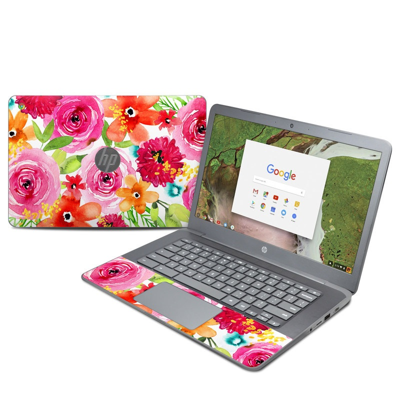 HP Chromebook 14 G5 Skin design of Flower, Cut flowers, Floral design, Plant, Pink, Bouquet, Petal, Flower Arranging, Artificial flower, Clip art with pink, red, green, orange, yellow, blue, white colors