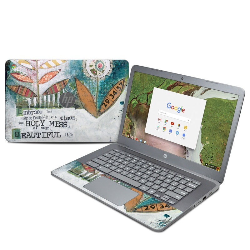 HP Chromebook 14 G5 Skin design of Leaf, Font, Plant, Illustration, Art with blue, white, green, red, orange, yellow colors
