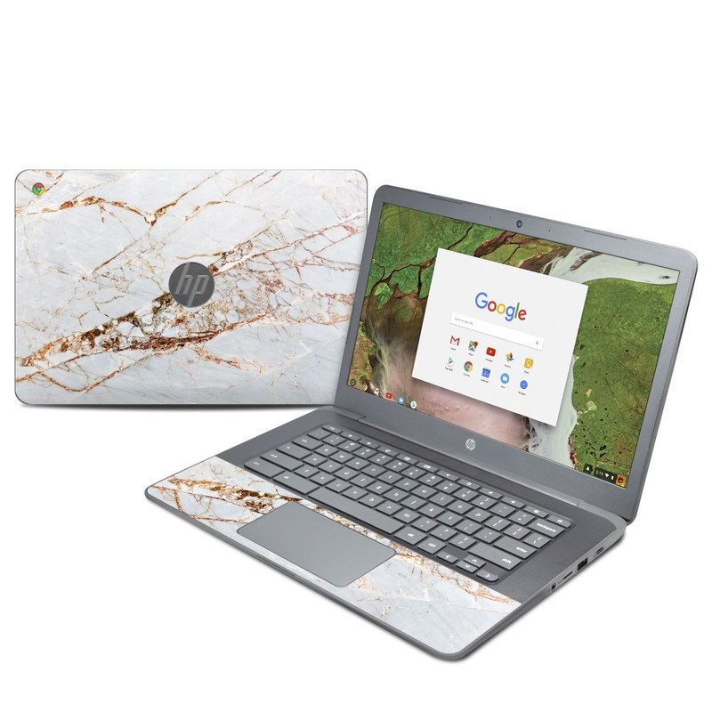 HP Chromebook 14 G5 Skin design of White, Branch, Twig, Beige, Marble, Plant, Tile with white, gray, yellow colors
