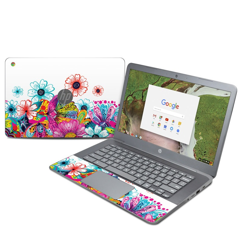 HP Chromebook 14 G5 Skin design of Pattern, Floral design, Design, Graphic design, Flower, Wildflower, Plant, Graphics, Clip art, Visual arts with white, pink, blue, yellow, purple, red colors