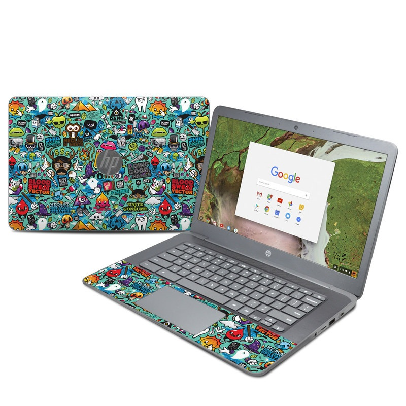 HP Chromebook 14 G5 Skin design of Cartoon, Art, Pattern, Design, Illustration, Visual arts, Doodle, Psychedelic art with black, blue, gray, red, green colors