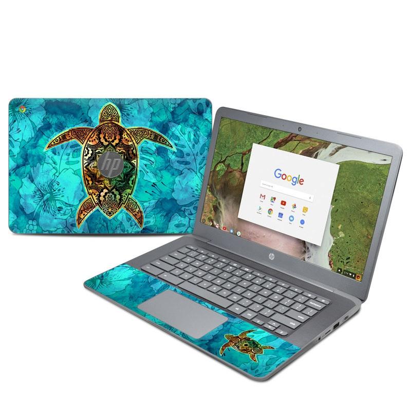 HP Chromebook 14 G5 Skin design of Sea turtle, Green sea turtle, Turtle, Hawksbill sea turtle, Tortoise, Reptile, Loggerhead sea turtle, Illustration, Art, Pattern with blue, black, green, gray, red colors
