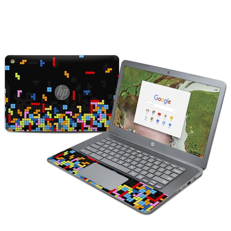 HP Chromebook 14 G5 Skin design of Pattern, Symmetry, Font, Design, Graphic design, Line, Colorfulness, Magenta, Square, Graphics with black, green, blue, orange, red colors