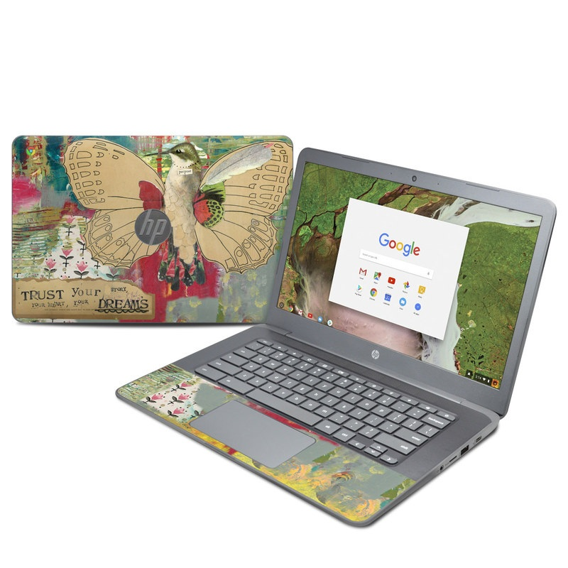 HP Chromebook 14 G5 Skin design of Butterfly, Insect, Moths and butterflies, Pink, Pollinator, Illustration, Wing, Moth, Art, Invertebrate with yellow, green, brown, red, blue, pink colors