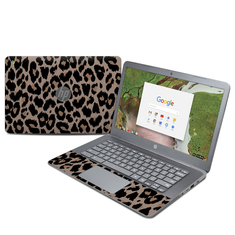 HP Chromebook 14 G5 Skin design of Pattern, Brown, Fur, Design, Textile, Monochrome, Fawn with black, gray, red, green colors