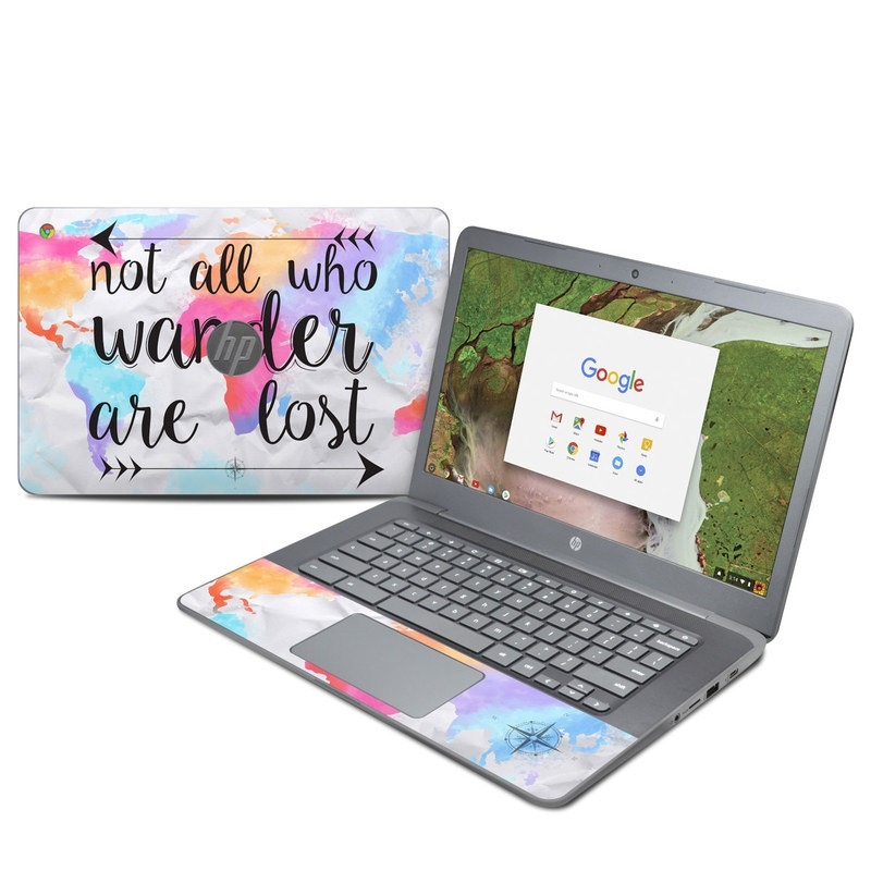 HP Chromebook 14 G5 Skin design of Font, Text, Calligraphy, Graphics with black, white, orange, pink, red, blue, purple, yellow colors