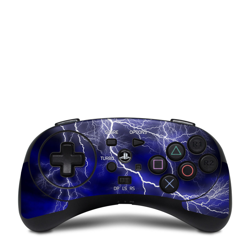 HORI Fighting Commander Skin design of Thunder, Lightning, Thunderstorm, Sky, Nature, Electric blue, Atmosphere, Daytime, Blue, Atmospheric phenomenon with blue, black, white colors
